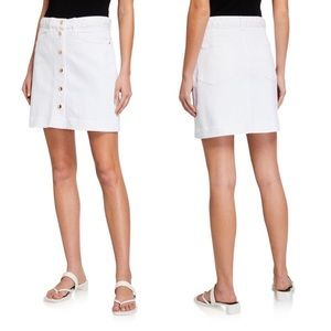 NWT Frame | White Claire Skirt Button Front